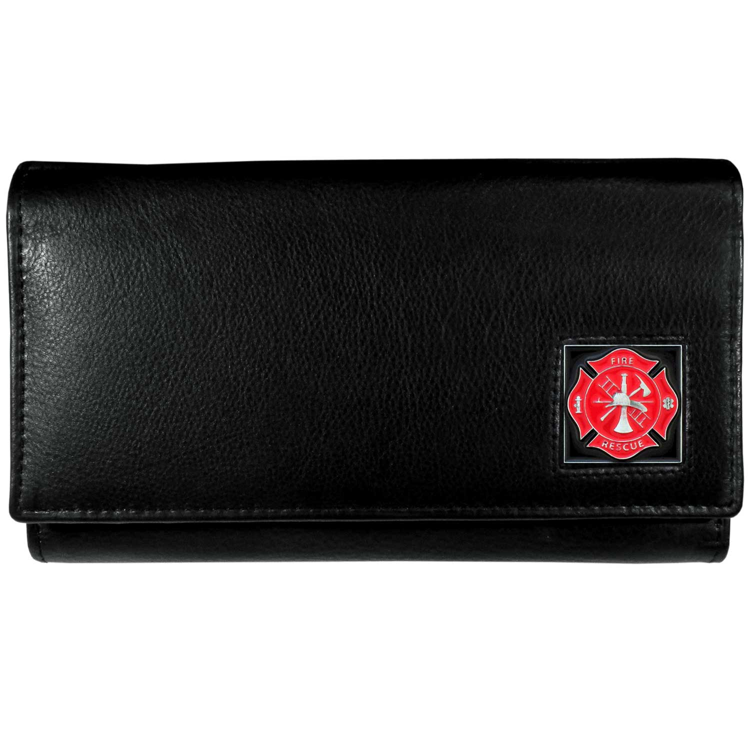 Women's Wallet - Firefighter - This genuine leather women's clutch features 9 credit card slots, a windowed ID slot, spacious front pocket, inner pocket and zippered coin pocket. The front of the pocketbook has a hand painted metal square.
