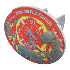 Firefighter Hitch Cover - Our Trailer Hitch Cover is hand painted with 3-D carved logo. Hardware included. Fits standard hitches. Enameled on durable, rust-proof zinc. Fits Class II and Class III hitches. Check out our extensive line of  automotive accessories!