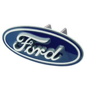 Ford Logo Hitch Cover - This Ford Logo Trailer Hitch Cover is hand painted with 3-D carved logo. Hardware included. Fits standard hitches. Enameled on durable, rust-proof zinc. Fits Class II and Class III hitches. Check out our extensive line of  automotive accessories!
