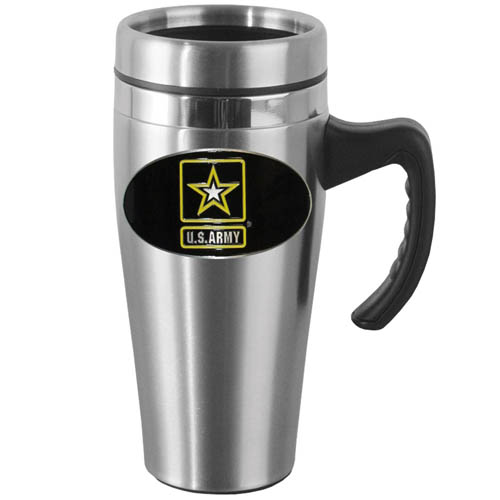 Army Steel Travel Mug - Show off your support with this 14 oz stainless steel mug with brushed finish. The mug has a lid, handle and features a cast & enameled Army emblem.
