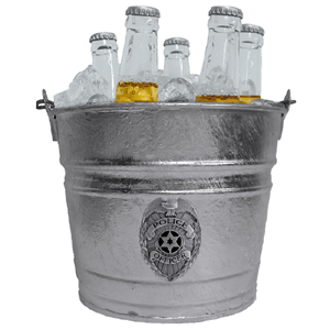 Police Ice Bucket - Our 1 gallon ice bucket features a metal logo with enameled finish. The bucket is the perfect tailgating accessory or backyard BBQ.