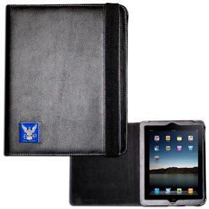 Navy iPad 2 Case - This classy case fits the popular iPad 2 and features a metal emblem.