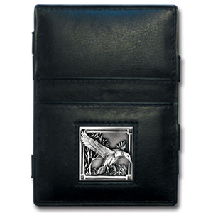 Jacob's Ladder Mallard Ducks Wallet - This innovative jacob's ladder wallet design traps cash with just a simple flip of the wallet! There are also outer pockets to store your ID and credit cards. The wallet is made of fine quality leather with an enameled team emblem.