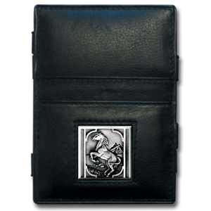 Jacob's Ladder Horse Wallet - This innovative jacob's ladder wallet design traps cash with just a simple flip of the wallet! There are also outer pockets to store your ID and credit cards. The wallet is made of fine quality leather with an enameled team emblem.