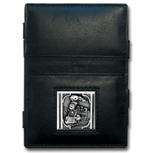 Jacob's Ladder  Train Locomotive Wallet - This innovative Train Locomotive jacob's ladder wallet design traps cash with just a simple flip of the wallet! There are also outer pockets to store your ID and credit cards. The wallet is made of fine quality leather with an enameled Train Locomotive emblem.