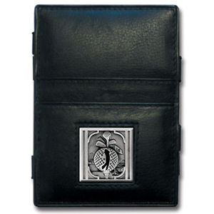 Jacob's Ladder Golf Wallet - This innovative jacob's ladder wallet design traps cash with just a simple flip of the wallet! There are also outer pockets to store your ID and credit cards. The wallet is made of fine quality leather with an enameled golf emblem. This Golf Jacob's Ladder Wallet is a great product for that golf expert or golf fan ! Check out all our other great NFL, NCAA, MLB ,NHL product line up. Thank you for shopping Crazed Out Sports!!