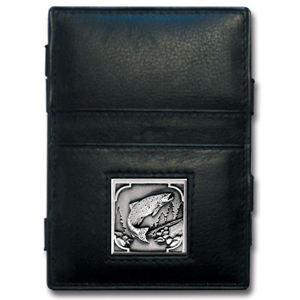 Jacob's Ladder Fish Wallet - This innovative jacob's ladder wallet design traps cash with just a simple flip of the wallet! There are also outer pockets to store your ID and credit cards. The wallet is made of fine quality leather with an enameled team emblem.