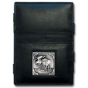 Jacob's Ladder Moose Wallet - This innovative jacob's ladder wallet design traps cash with just a simple flip of the wallet! There are also outer pockets to store your ID and credit cards. The wallet is made of fine quality leather with an enameled team emblem.