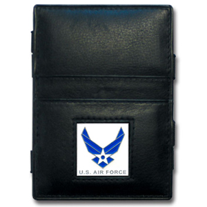 Jacob's Ladder Air Force Wallet - This innovative jacob's ladder wallet design traps cash with just a simple flip of the wallet! There are also outer pockets to store your ID and credit cards. The wallet is made of fine quality leather with an enameled team emblem.