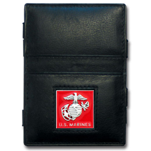 Jacob's Ladder Marines Wallet - This innovative jacob's ladder wallet design traps cash with just a simple flip of the wallet! There are also outer pockets to store your ID and credit cards. The wallet is made of fine quality leather with an enameled team emblem.