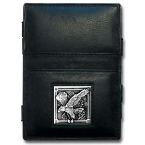 Jacob's Ladder Eagle Wallet - This innovative jacob's ladder wallet design traps cash with just a simple flip of the wallet! There are also outer pockets to store your ID and credit cards. The wallet is made of fine quality leather with an enameled team emblem.