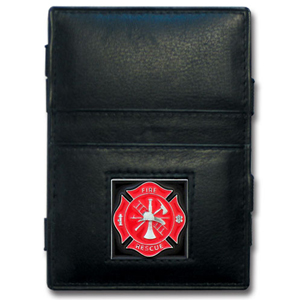 Jacob's Ladder Firefighter Wallet - This innovative jacob's ladder wallet design traps cash with just a simple flip of the wallet! There are also outer pockets to store your ID and credit cards. The wallet is made of fine quality leather with an enameled team emblem.