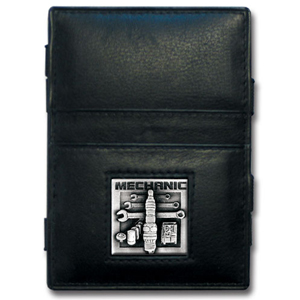 Jacob's Ladder Mechanic Wallet - This innovative jacob's ladder wallet design traps cash with just a simple flip of the wallet! There are also outer pockets to store your ID and credit cards. The wallet is made of fine quality leather with an enameled team emblem.