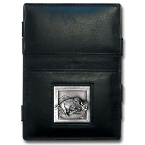 Jacob's Ladder Bison Wallet - This innovative jacob's ladder wallet design traps cash with just a simple flip of the wallet! There are also outer pockets to store your ID and credit cards. The wallet is made of fine quality leather with an enameled team emblem.