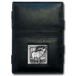 Jacob's Ladder Elk Wallet - This innovative jacob's ladder wallet design traps cash with just a simple flip of the wallet! There are also outer pockets to store your ID and credit cards. The wallet is made of fine quality leather with an enameled team emblem.