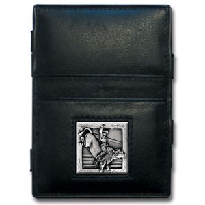 Jacob's Ladder Bull Rider Wallet - This innovative jacob's ladder wallet design traps cash with just a simple flip of the wallet! There are also outer pockets to store your ID and credit cards. The wallet is made of fine quality leather with an enameled team emblem.