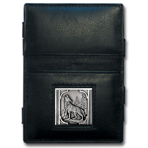 Jacob's Ladder Howling Wolf Wallet - This innovative jacob's ladder wallet design traps cash with just a simple flip of the wallet! There are also outer pockets to store your ID and credit cards. The wallet is made of fine quality leather with an enameled team emblem.