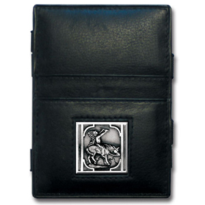 Jacob's Ladder Indian Wallet - This innovative jacob's ladder wallet design traps cash with just a simple flip of the wallet! There are also outer pockets to store your ID and credit cards. The wallet is made of fine quality leather with an enameled team emblem.