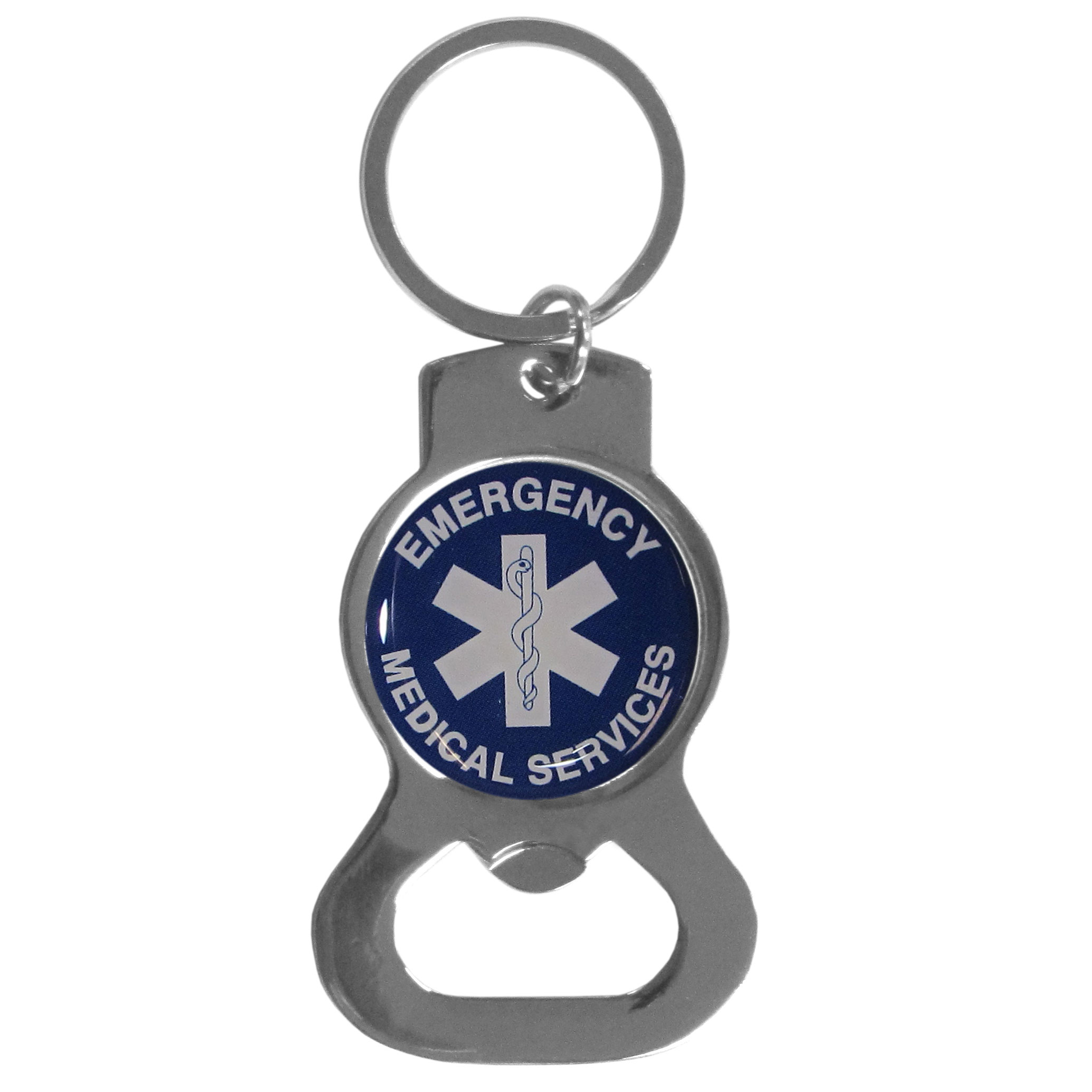 EMS Bottle Opener Key Chain - Hate searching for a bottle opener, get our EMS bottle opener key chain and never have to search again! The high polish key chain features a bright domed emblem and a standard split ring for organizing your home and auto keys.