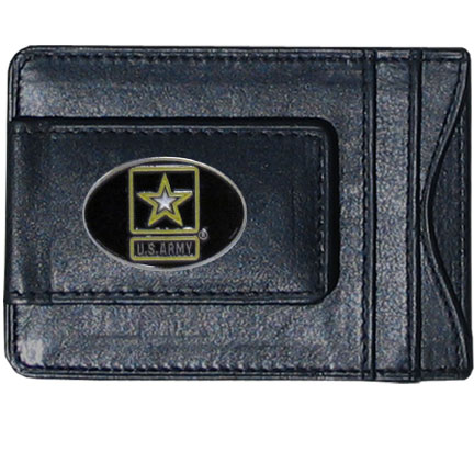 Army Leather Cash & Cardholder - Our genuine leather cash & cardholder features a magnetic money clip and credit card slots on one side and a photo ID slot on the other. This versatile holder features a cast & enameled Army emblem on the money clip.