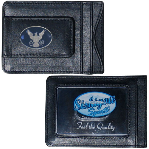 Navy Leather Cash & Cardholder - Our genuine leather cash & cardholder features a magnetic money clip and credit card slots on one side and a photo ID slot on the other. This versatile holder features a cast & enameled Navy emblem on the money clip.