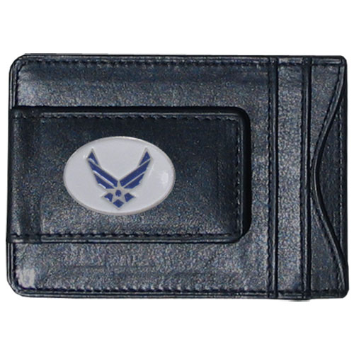 Air Force Leather Cash & Cardholder - Our genuine leather cash & cardholder features a magnetic money clip and credit card slots on one side and a photo ID slot on the other. This versatile holder features a cast & enameled Air Force emblem on the money clip.