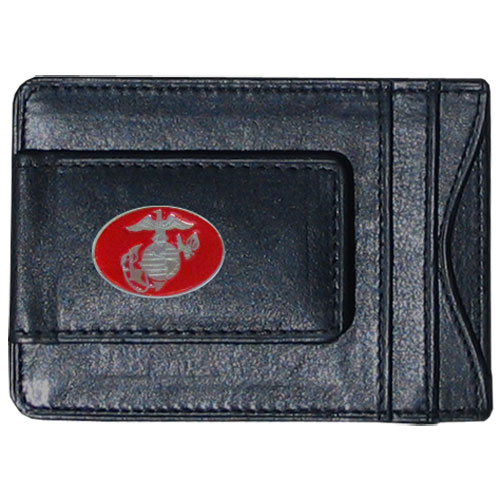Marines Leather Cash & Cardholder - Our genuine leather cash & cardholder features a magnetic money clip and credit card slots on one side and a photo ID slot on the other. This versatile holder features a cast & enameled Marines emblem on the money clip.