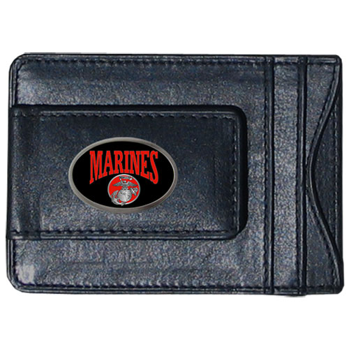 Marines Money Clip/Cardholder - Our genuine leather money clip/cardholder is the perfect way to organize both your cash and cards while showing off your Marines pride!
