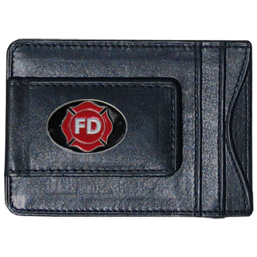 Firefighter Leather Cash & Cardholder - Our genuine leather cash & cardholder features a magnetic money clip and credit card slots on one side and a photo ID slot on the other. This versatile holder features a cast & enameled firefighter emblem on the money clip.
