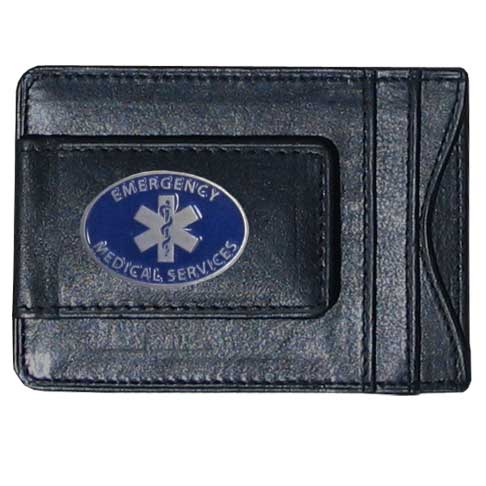 EMS Leather Cash and Cardholder - Our genuine leather cash & cardholder features a magnetic money clip and credit card slots on one side and a photo ID slot on the other. This versatile holder features a cast & enameled EMS emblem on the money clip.