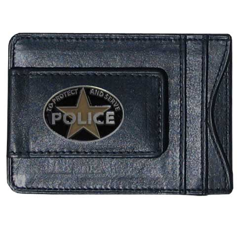 Police Leather Cash & Cardholder - Our genuine leather cash & cardholder features a magnetic money clip and credit card slots on one side and a photo ID slot on the other. This versatile holder features a cast & enameled Police emblem on the money clip.