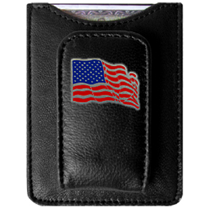 US Flag Money Clip/Cardholder - Our genuine leather money clip/cardholder is the perfect way to organize both your cash and cards while showing off your American pride!