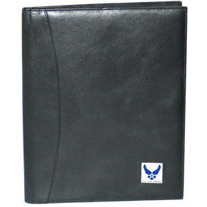 "Leather Portfolio - Air Force - This genuine leather portfolio fits an 8 1/2"" x 11"" writing pad and includes slots for your credit cards, a spacious pocket and a pen holder. The front features a hand painted metal square."