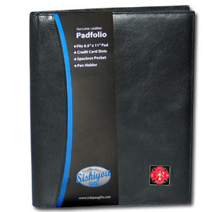 "Leather Portfolio - Firefighter - This genuine leather portfolio fits an 8 1/2"" x 11"" writing pad and includes slots for your credit cards, a spacious pocket and a pen holder. The front features a hand painted metal square."