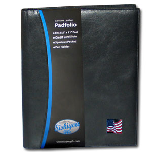 "Leather Portfolio - American Flag - This genuine leather portfolio fits an 8 1/2"" x 11"" writing pad and includes slots for your credit cards, a spacious pocket and a pen holder. The front features a hand painted metal square."
