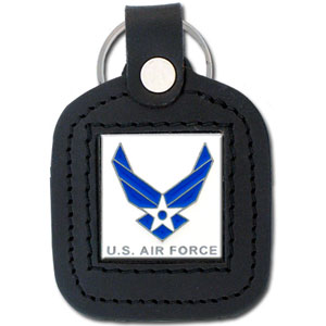 Sq. Leather Keychain -  US Air Force - Our military leather key chains feature a square metal piece that has fine 3D detail and a hand enameled finish.