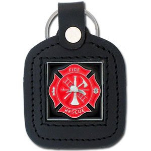 Sq. Leather Keychain -  Fire Fighter - Our leather key chains feature a square metal piece that has fine 3D detail and a hand enameled finish.