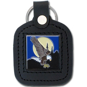 Sq. Leather Keychain -  Eagle - Our leather key chains feature a square metal piece that has fine 3D detail and a hand enameled finish.