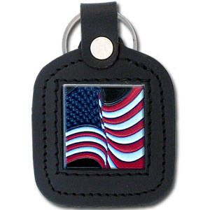 Sq. Leather Keychain -  US Flag - Our leather key chains feature a square metal piece that has fine 3D detail and a hand enameled finish.