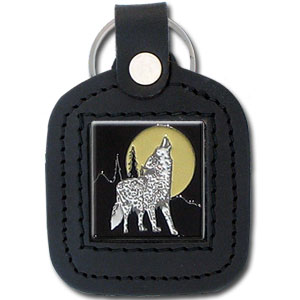 Sq. Leather Keychain -  Howling Wolf - Our leather key chains feature a square metal piece that has fine 3D detail and a hand enameled finish.