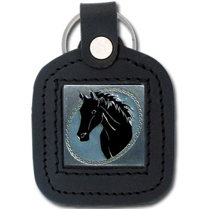 Sq. Leather Keychain -  Horse - Our leather key chains feature a square metal piece that has fine 3D detail and a hand enameled finish.