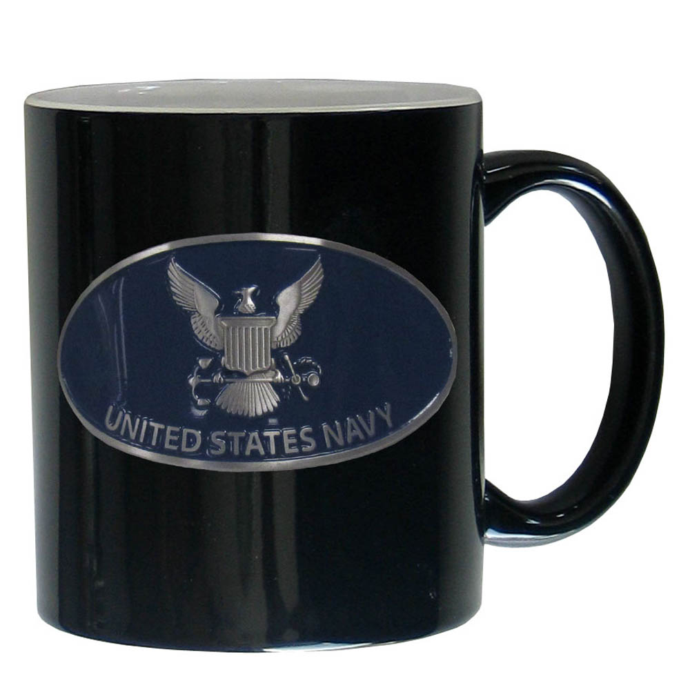 Navy Ceramic Coffee mug - Our ceramic coffee mugs have an 11 oz capacity and feature a fully cast and hand enameled Navy emblem.