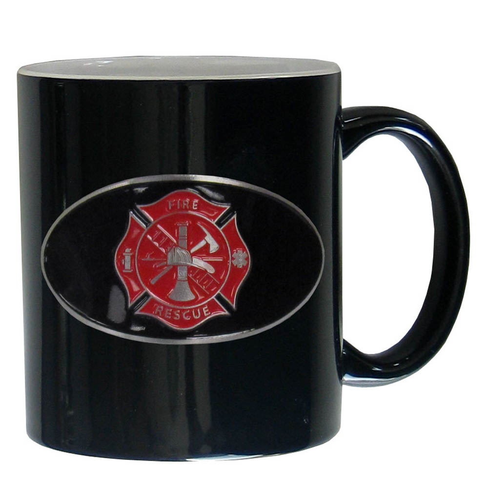 Firefighter Ceramic Coffee mug - Our ceramic coffee mugs have an 11 oz capacity and feature a fully cast and hand enameled Firefighter emblem.