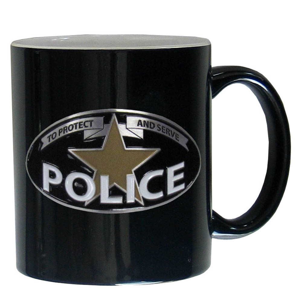 Police Ceramic Coffee mug - Our ceramic coffee mugs have an 11 oz capacity and feature a fully cast and hand enameled Police emblem.
