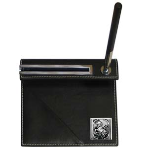Horse Rearing Desk Set - Our classic desk set features a slot for a note pad, a slot for your business cards and comes with a stylish pen. The set comes with a metal emblem.