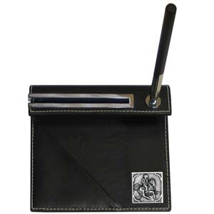 Cowboy on Horse Desk Set - Our classic desk set features a slot for a note pad, a slot for your business cards and comes with a stylish pen. The set comes with a metal emblem.