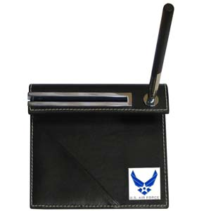 Air Force Desk Set - Our classic desk set features a slot for a note pad, a slot for your business cards and comes with a stylish pen. The set comes with a metal emblem.