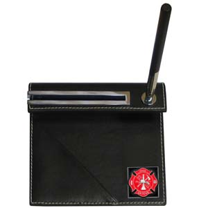 Firefighter Desk Set - Our classic desk set features a slot for a note pad, a slot for your business cards and comes with a stylish pen. The set comes with a metal emblem.