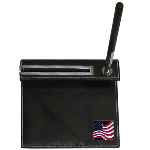 Flag Desk Set - Our classic desk set features a slot for a note pad, a slot for your business cards and comes with a stylish pen. The set comes with a metal emblem.