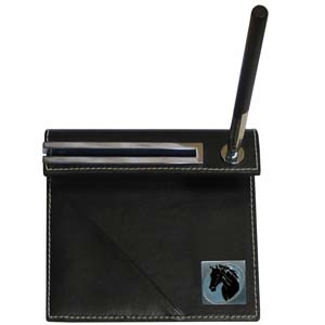 Horse Head Desk Set - Our classic desk set features a slot for a note pad, a slot for your business cards and comes with a stylish pen. The set comes with a metal emblem.